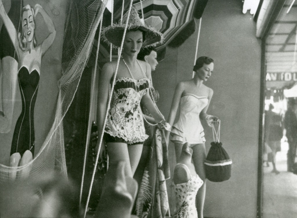 Barters store display of swimming costumes. Forest Road, Hurstville.  Georges River Council Local Studies collection.