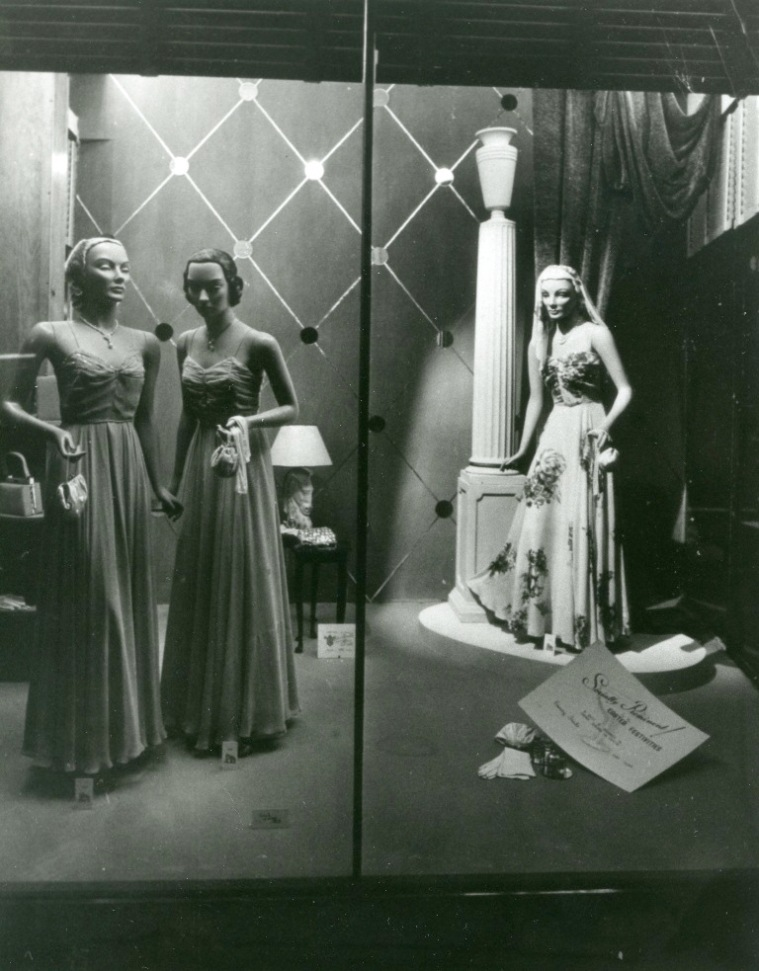 Barter's display of evening gowns. Georges River Council Local Studies collection.
