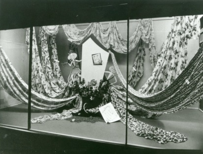 Barter's store display of fabrics. Georges River Council Local Studies collection.
